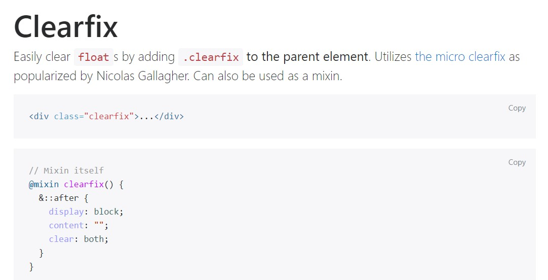 Bootstrap clearfix  authoritative  information
