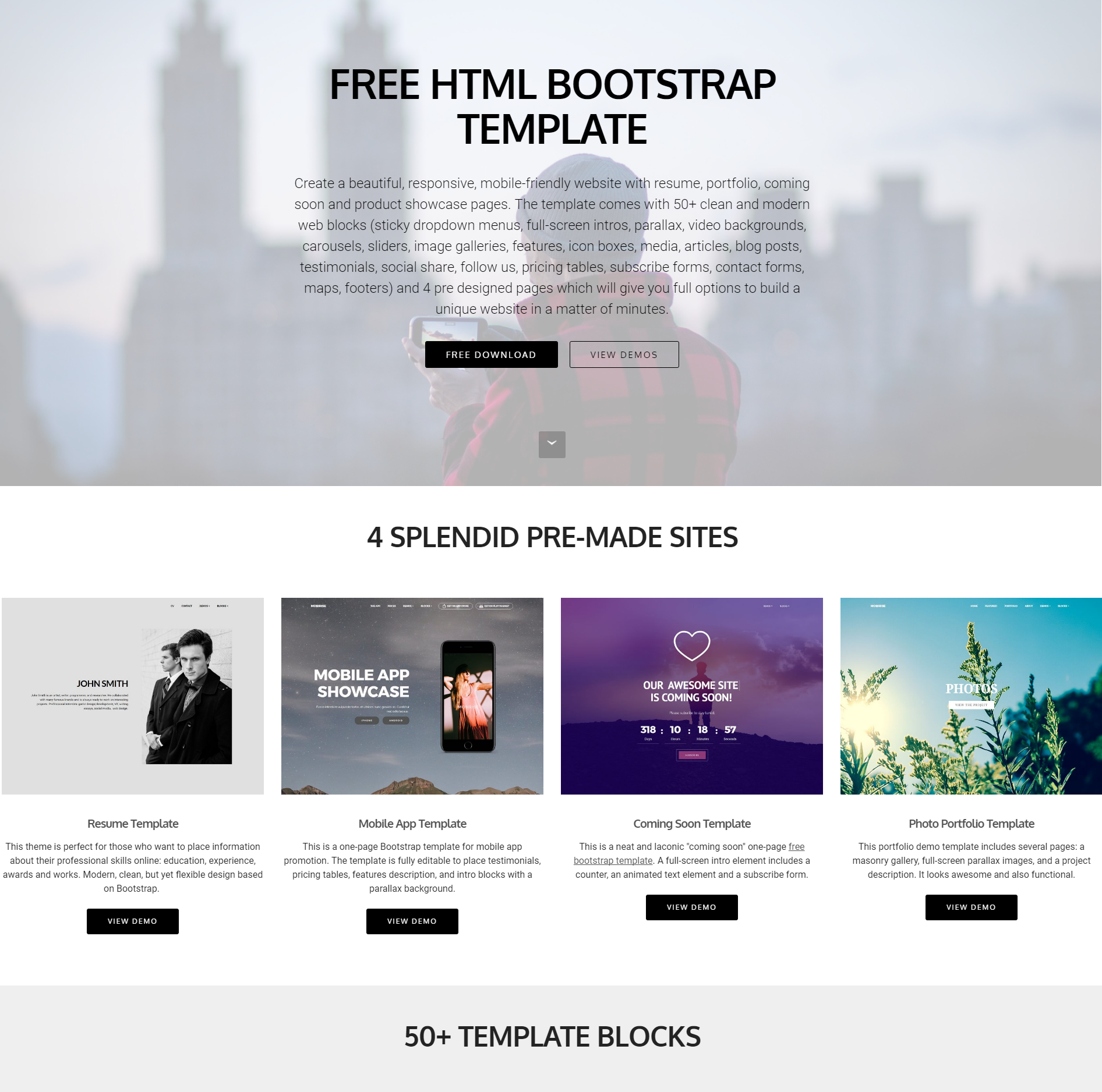 Free Bootstrap 4 Blocks Themes
